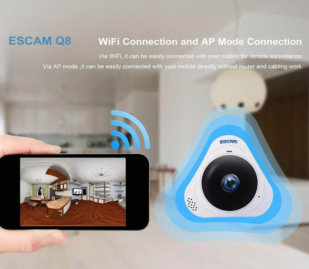 sengshen US PLUG ESCAM Q8 360° Rotating Home Security IP Camera Webcam Fisheye HD 960P Internet IR Night Vision Wifi...
