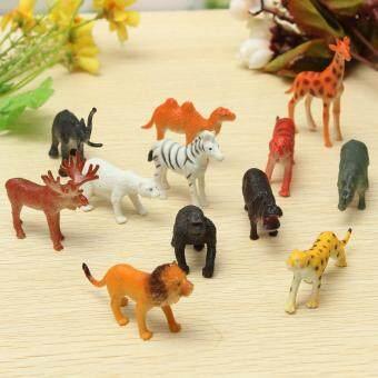 12PCS Plastic Zoo Safari Animal Figure Lion Tiger Leopard Hippo Giraffe Kids Toy