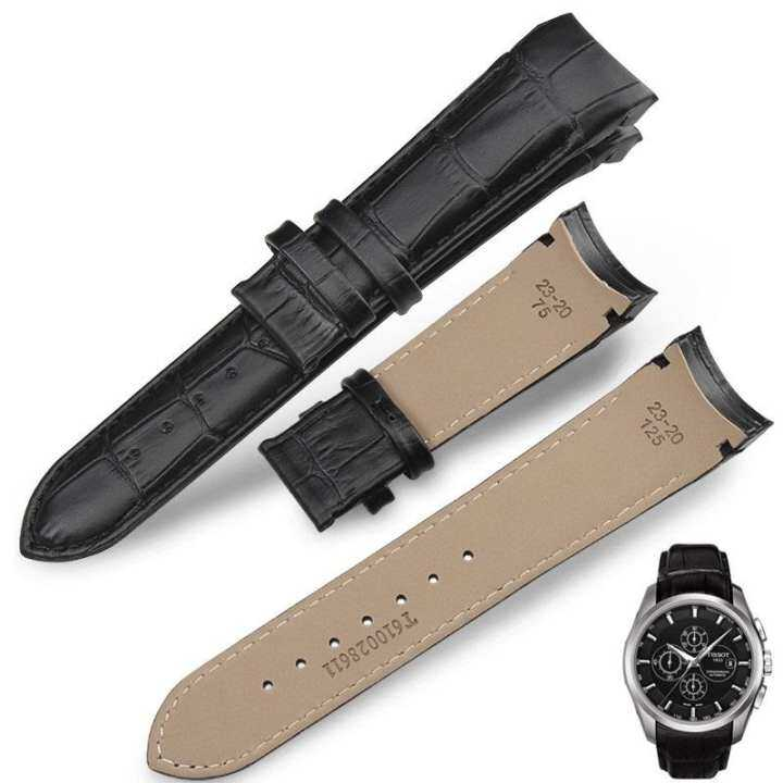 Genuine Leather Curved End Watchband BLACK BROWN Calfskin Strap for T-CLASSIC T035 Watch 22mm Malaysia