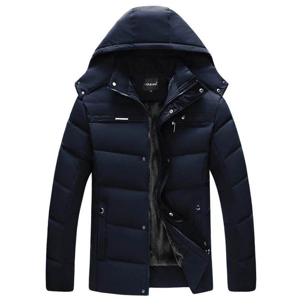 YUNY Mens Plus Size Winter Outwear Zip-up Lapel Warm Anorak Jacket Gray M