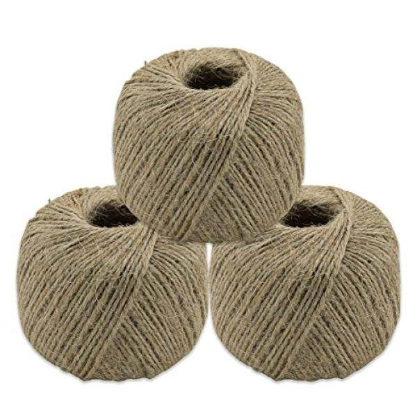 DecorRack 560 Feet Roll Twisted Jute Twine, Rope, 100% Natural Cord, Baling Twine for Arts, Crafts, Gift, Industrial, Wrapping and Packing, 1 mm Durable String (3 Pack)