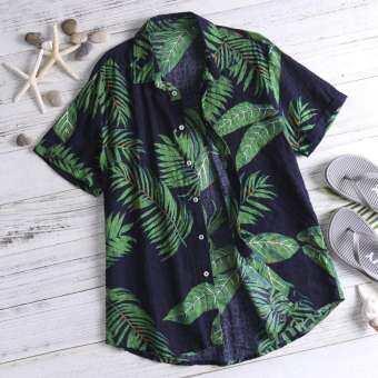 สองด้าน Mens Palms พิมพ์ชายหาดชายทะเลฮาวายผ้าฝ้ายเสื้อระบายอากาศ-