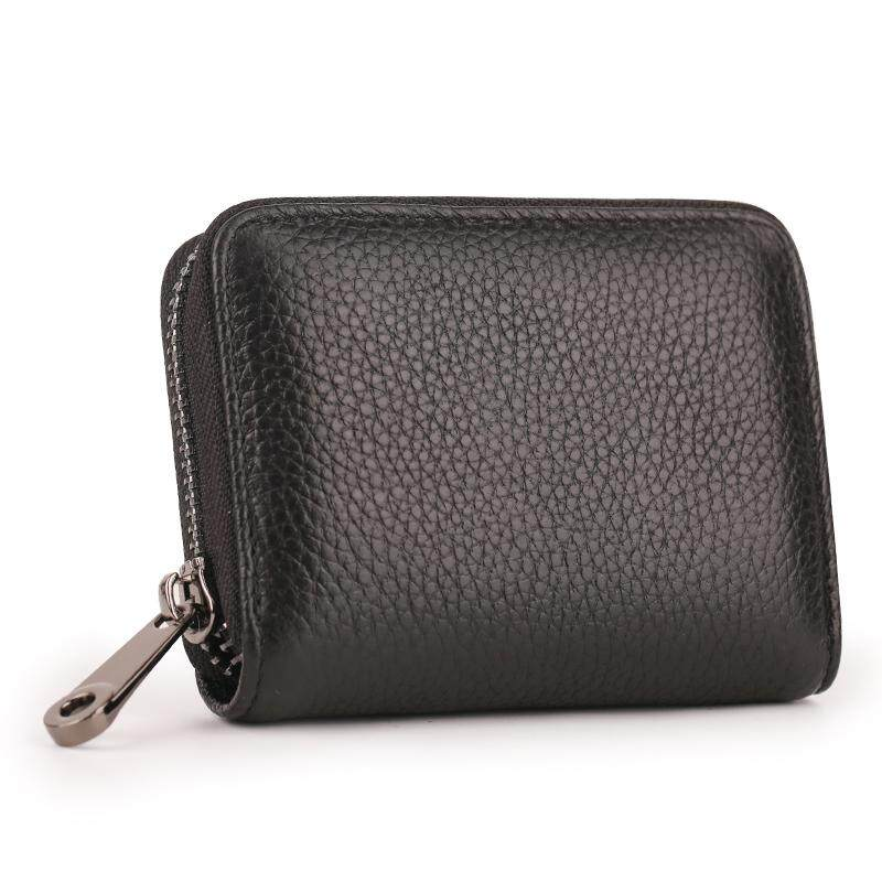 Leather Card Holder Zip Card Package Credit Card Cover Thin Card Holder Men's South Korea duo ka wei Cowhide Hipster