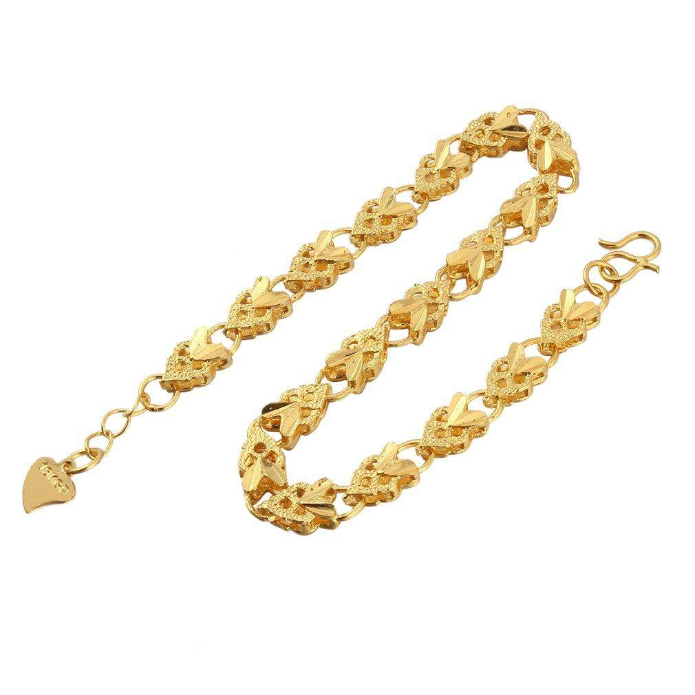 USTORE Vacuum Plating 24K Gold Angel Heart Bracelet Emulational Jewelry Bracelet