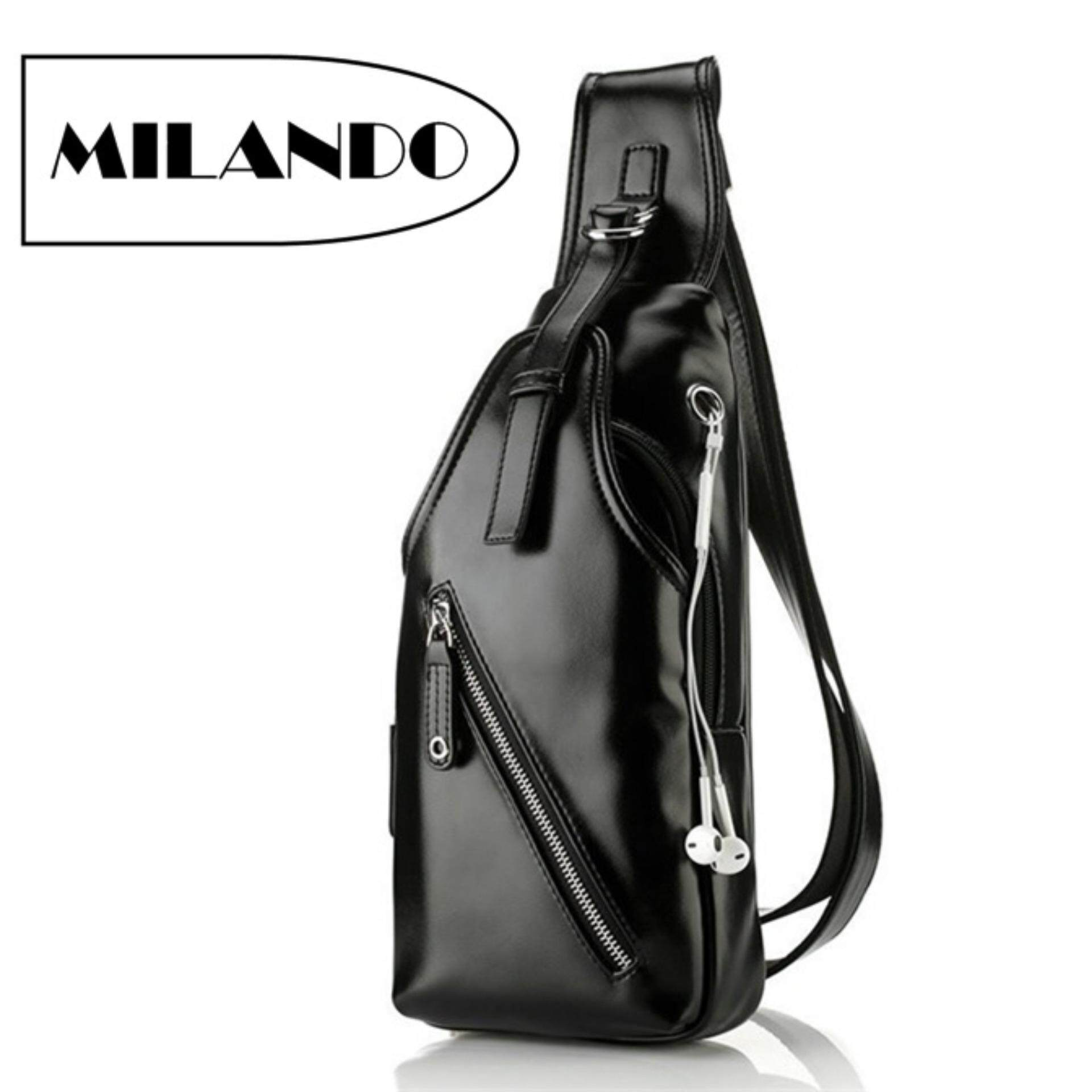 MILANDO Men PU Leather Crossbody Bag Chest Shoulder Sling Pouch with Earphone Hole (Type 3) image on snachetto.com