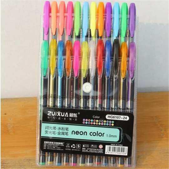 JOETXO Normal Writing Gel Pens Or Gel Refills Rollerball Pastel Neon Glitter Pen Drawing Color Pen