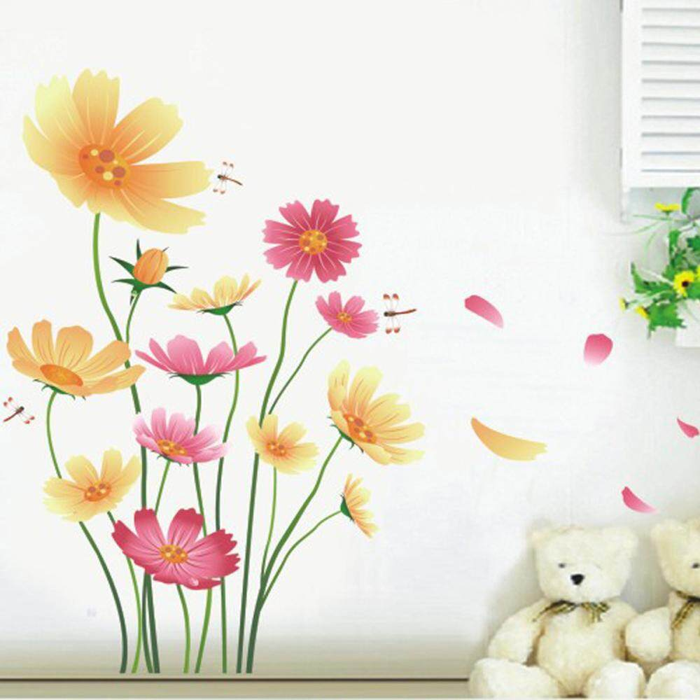 Chrysanthemum Flower Butterflies PVC Wall Decals DIY Home Sticker WallPaper Vinyl Wall arts Pictures Removable Murals For House Decoration Baby Living Rooms Bedroom Toilet