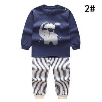 Ishowmall 2 ชิ้นชุดชุดทารกชุดเด็กเด็กทารกสัตว์น่ารักแขนยาวรอบชุดนอนคอ