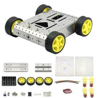 Light Weight Silver Aluminium Alloy 4WD Mobile Robot Platform Assembled kit