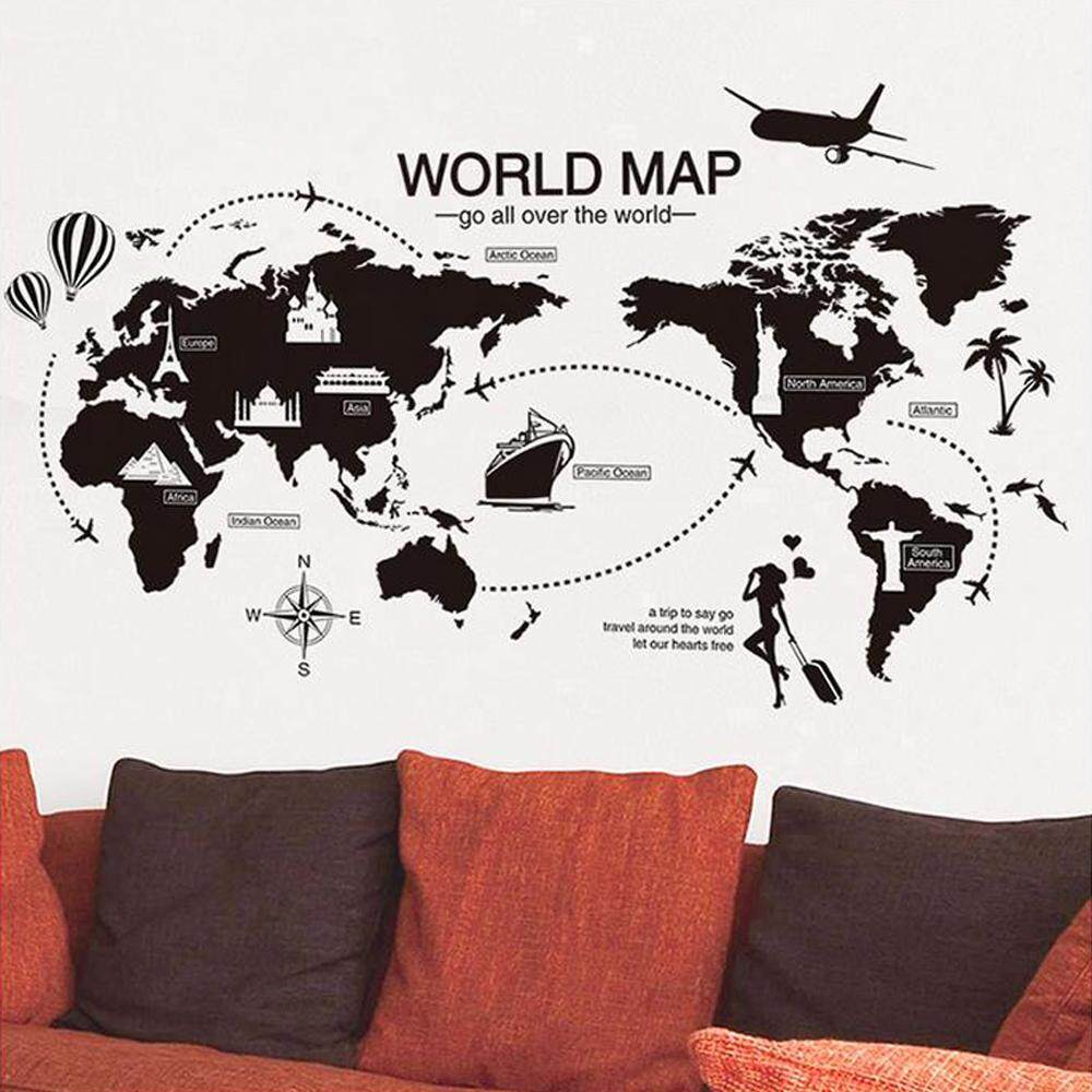 World Map Building Airplane DIY Wall Decal Stickers PVC Murals Wallpaper Environmentally Removable Wall Art Bedroom Living Room Kids Baby Bathroom Window Car Home Decor