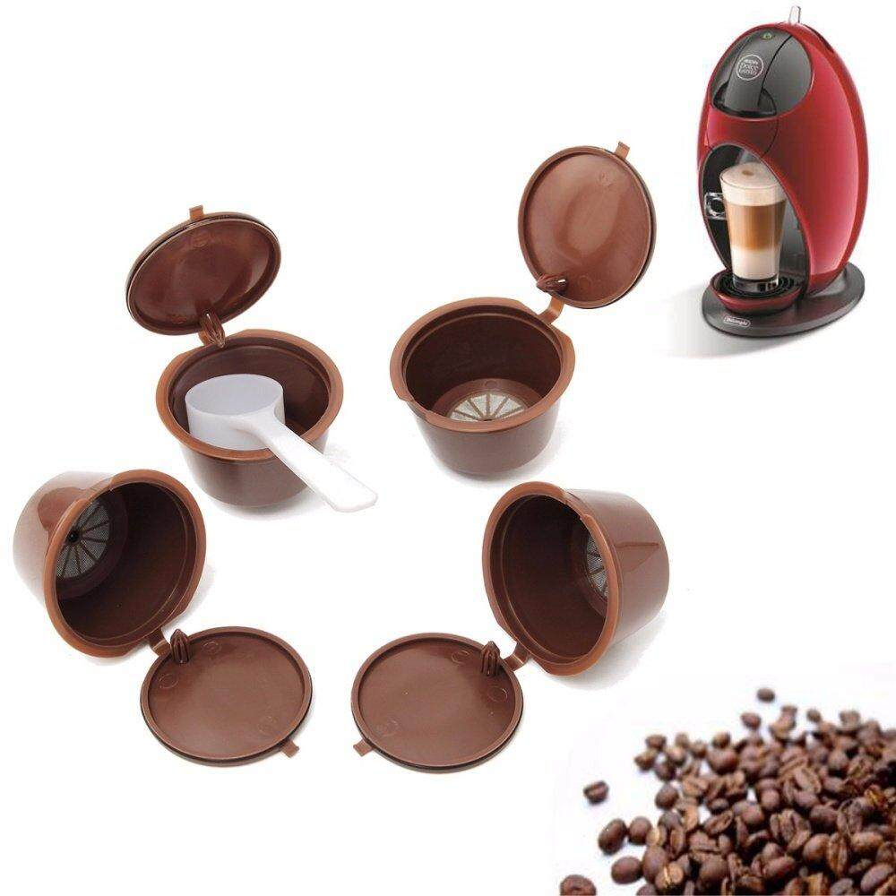 Panda Online 5PCS Reusable Coffee Capsule Cups Coffee Filter Baskets Refillalbe Pods + 1 Plastic Spoon For Dolce Gusto Machine