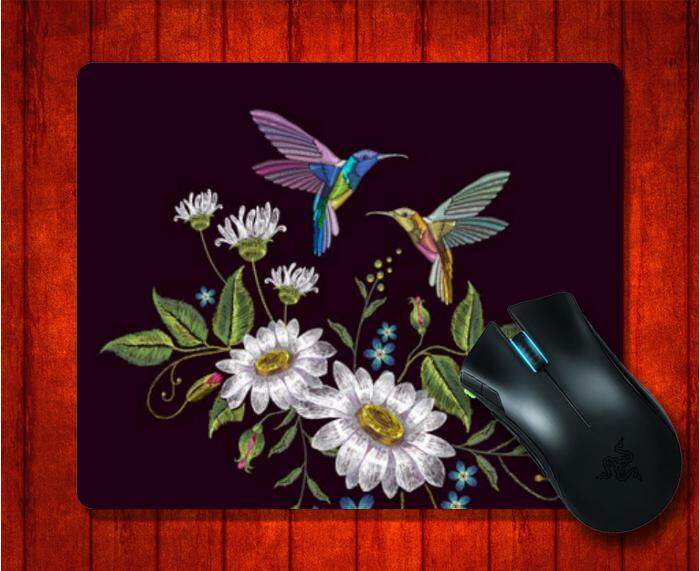MousePad with Flower Leaf Hummingbirds Embroidery picture for Mouse Pad Design image Gaming Mice mat 9.5 X 7.9 Inch(240X200X3mm)
