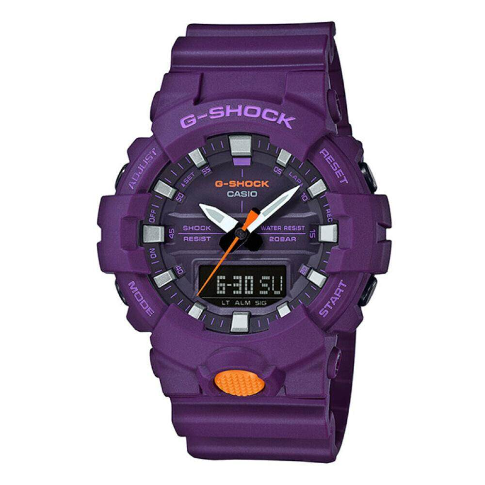 การใช้งาน  พัทลุง 【 STOCK】Original _ Casio_G-Shock GA800 Duo W/เวลา 200M กันน้ำกันกระแทกและกันน้ำโลกนาฬิกากีฬาไฟแอลอีดีอัตโนมัติ Wist นาฬิกากีฬาสำหรับ MenGA-800SC-6A สีม่วง