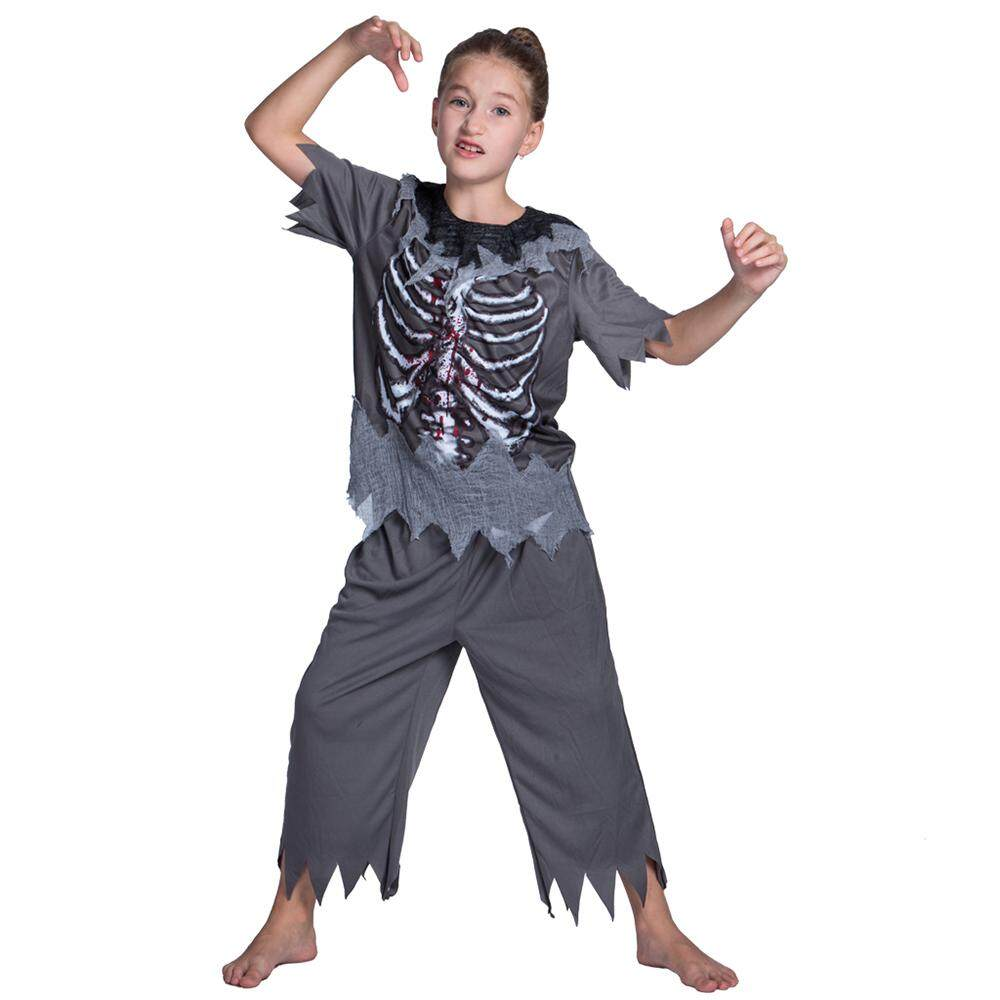 Unisex Child Halloween Skeleton Zombie Costumes Shirt + Pants Kit Masquerade Cosplay Party Props--M Size for 5-7 Years Old Kids