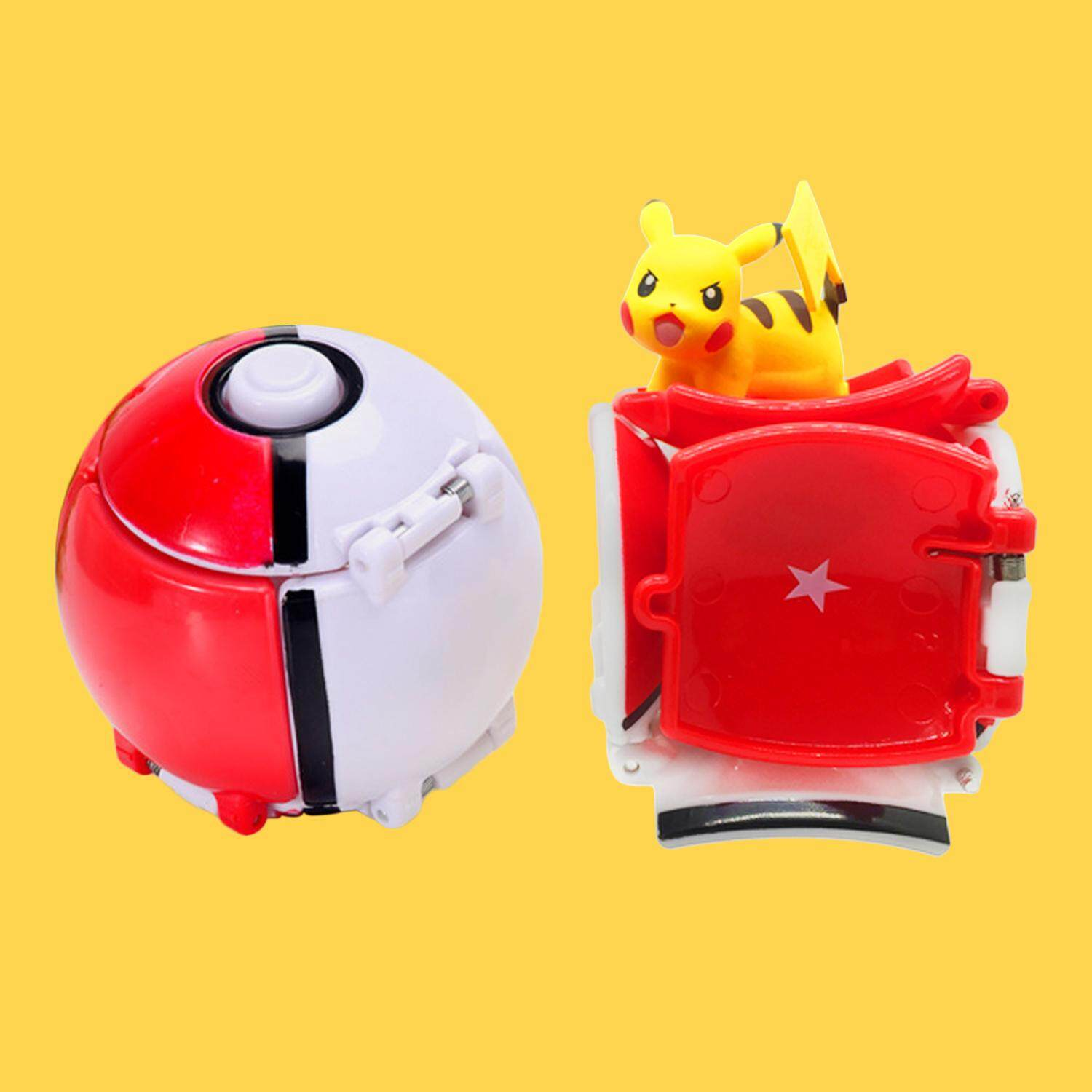 Kawaii Pokemon Throw N Pop Pikachu Automatically Bounce Pokeball Model Figure Toys (Red) - intl