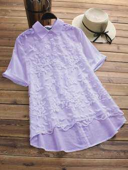 O-NEWE Elegant คอปกเสื้อเย็บปักถักร้อยเสื้อผู้หญิง-