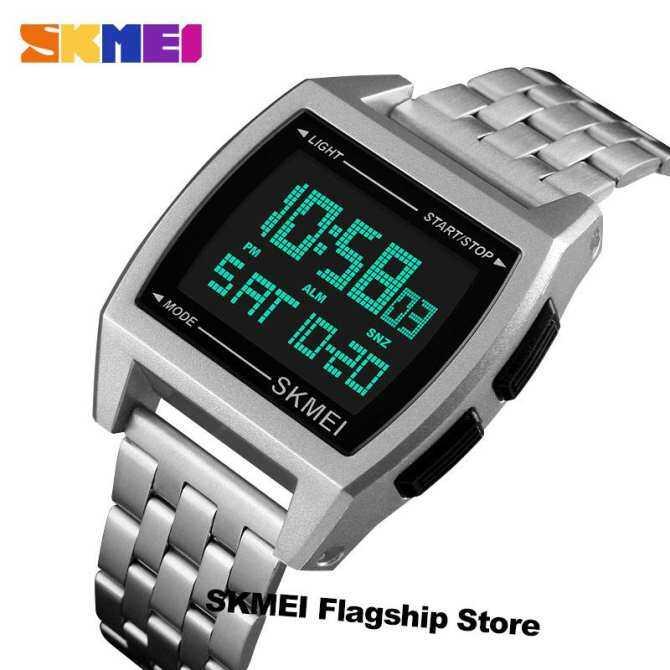 SKMEI New Men Sport Wrist Watch Double Time Countdown Alarm Rectangle Waterproof  Clock Digital Watches Jam 916551ff43