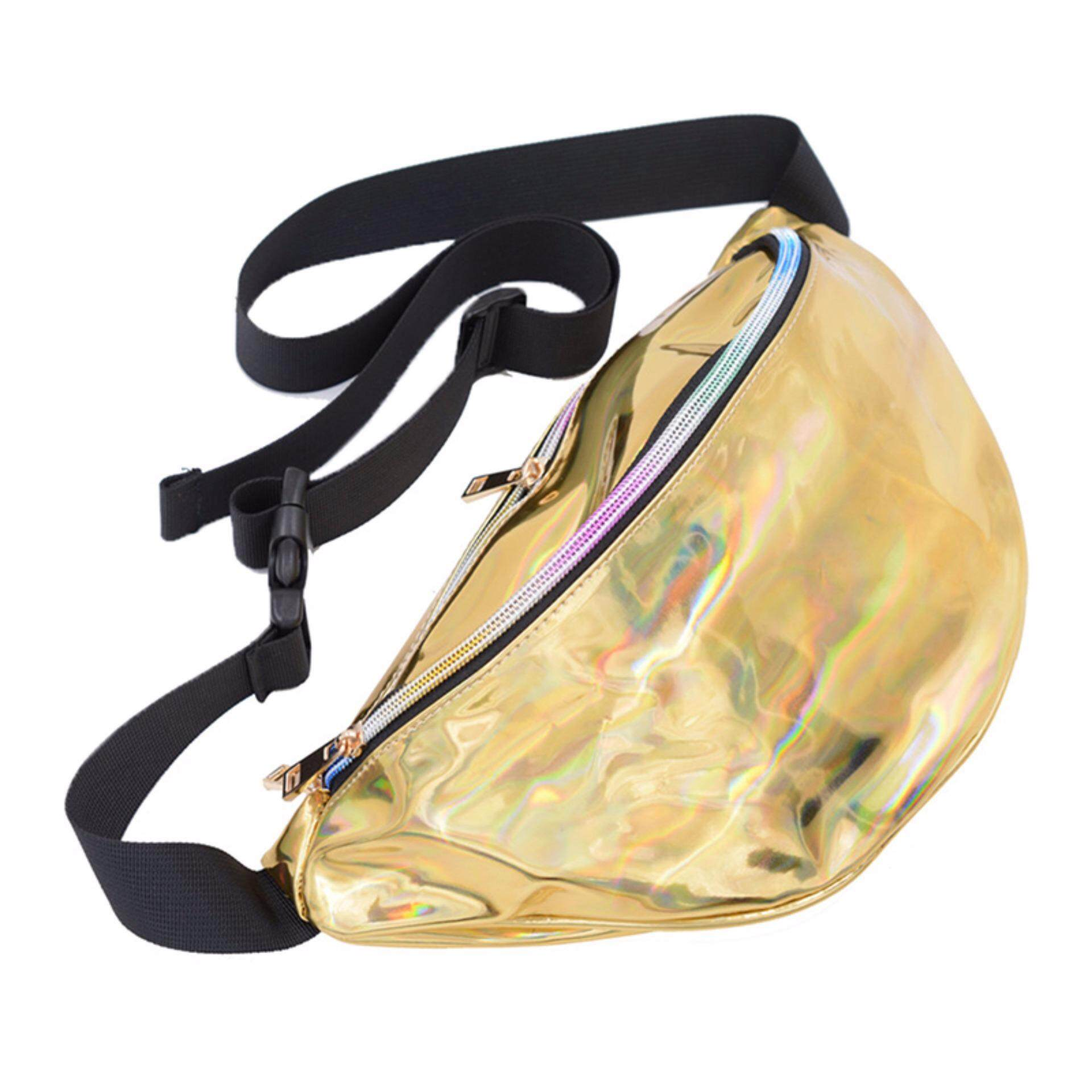 Punk Lady Girl Rainbow Transparent Fanny Pack Bum Women Purse Waist Bag Gold