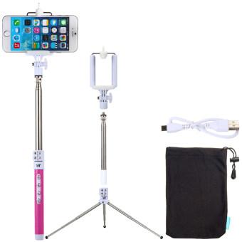 Dispho Selfie Stick Handheld Bluetooth Remote Monopod ShutterTripod Set for iPhone (Rose Red) TV007