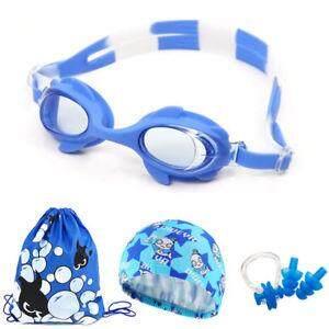 Swimming Glasses Anti Fog Swim Goggles Cap Nose Clip Ear Plug Boys Kids Adult