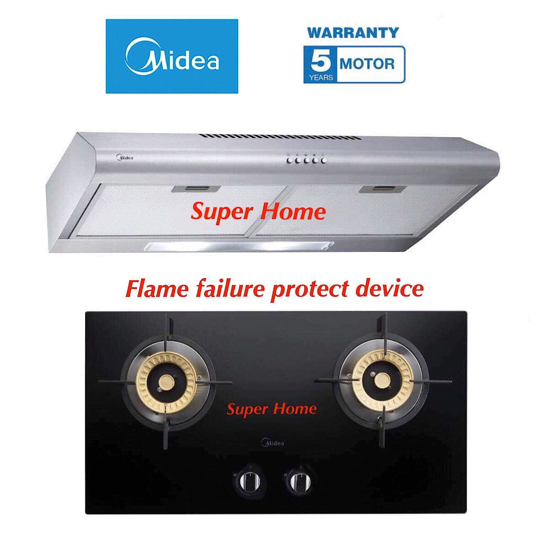 Midea MCH-76MSS Slim Cooker Hood 2.5Feet(76CM) - Stainless Steel + Midea MGH-2408GL Built-in Glass Gas Hob with protect device