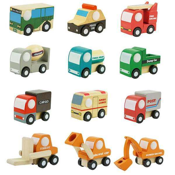 MayLer Store Wooden Car Toy Mini Car Set Mini 12pcs Wood Decoration Intellectual