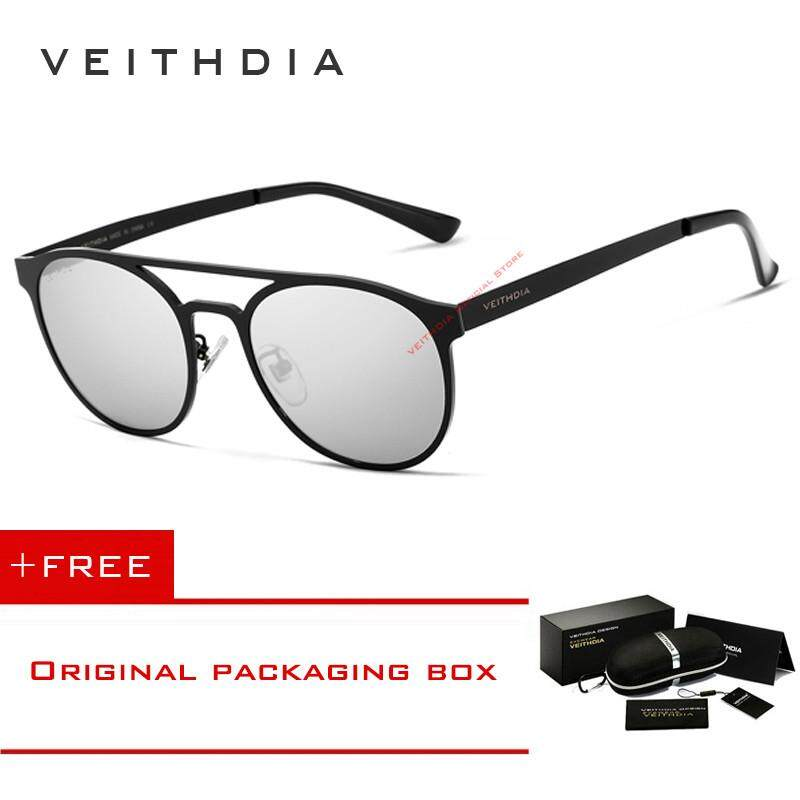 VEITHDIA Unisex Stainless Steel Sunglasses Polarized UV400 Men's Round Vintage Sun Glasses Eyewear Accessories For Men 3900