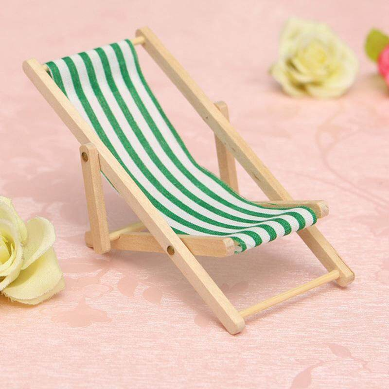2pc Cute Mini Foldable Wooden Deck Beach Chair Couch Recliner For Dolls House Lounge