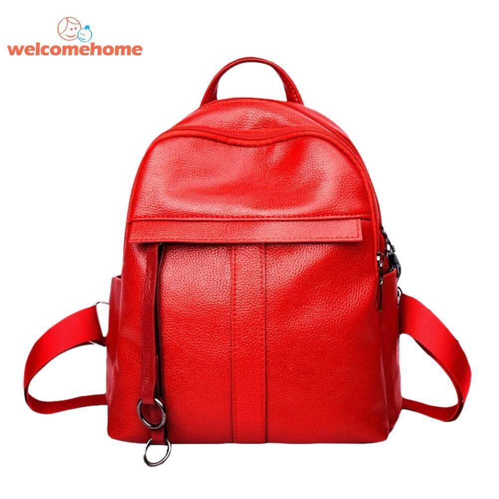 Zipper PU Leather Women Shoulder Backpack Girls Travel School Small Bookbag - intl