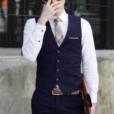 Ishowmall Men Dress Vest Slim Fit Mens Suit Vest Male Waistcoat
