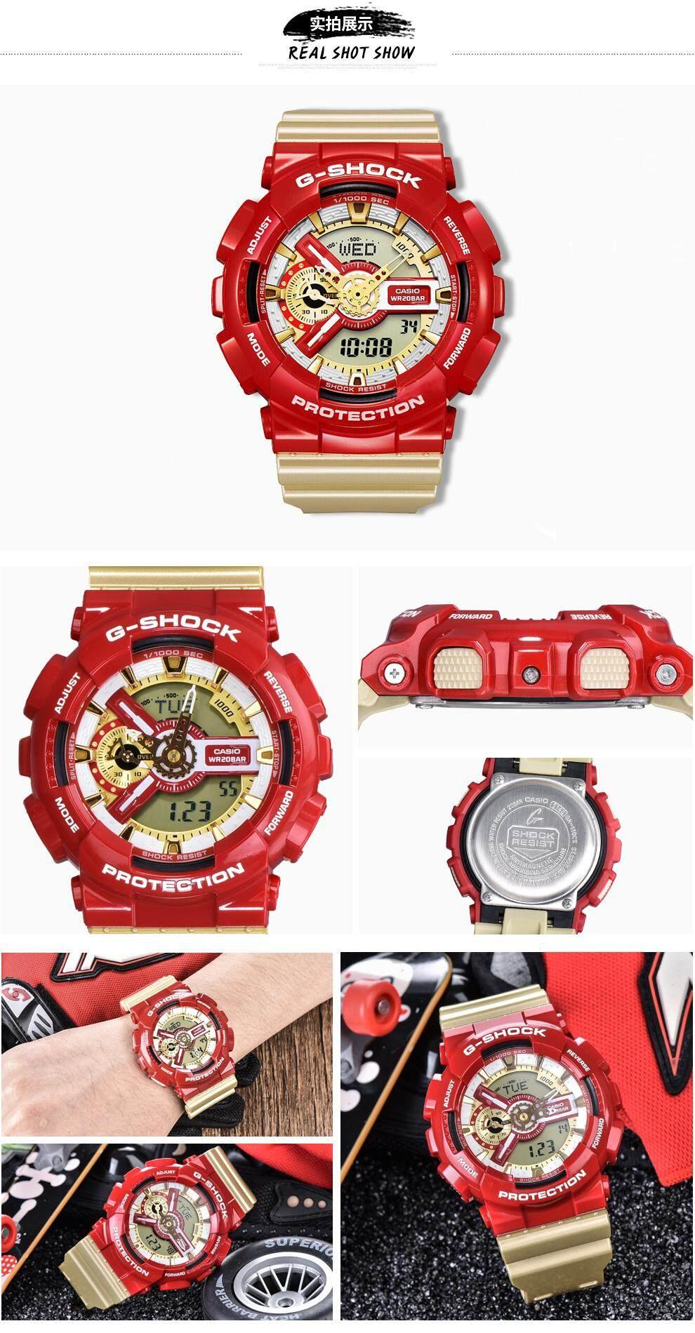 สอนใช้งาน  จันทบุรี 【 STOCK】Original _ Casio_G-Shock นาฬิกาข้อมือผู้ชายผู้หญิงนาฬิกากีฬาอิเล็กทรอนิกส์ Autolight และนาฬิกาดิจิตอลกีฬานาฬิกาเรซิน GA-110CS-4A