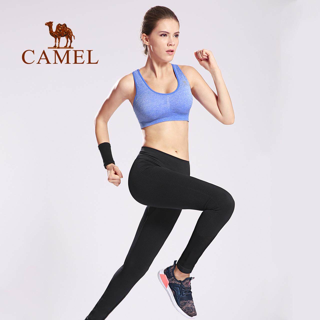 CAMEL women's high waist sports pants breathable elastic tights comfortable fitness running mesh knitted trousers