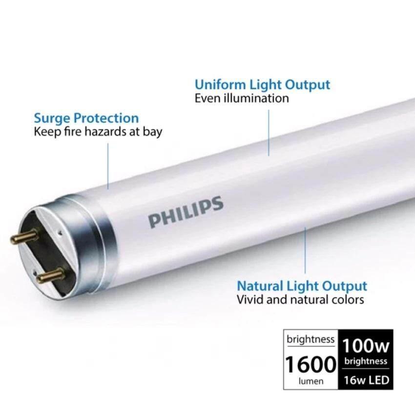10pcs - Philips EcoFit 16w T8 LED Tube Cool DayLight 4ft 1200mm C/W Bypass  Starter