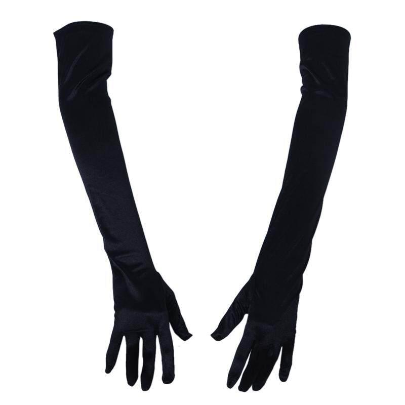 21 Inch Women Arm Long Satin Elbow Gloves for Evening Wedding Fancy Dress Costume - Black