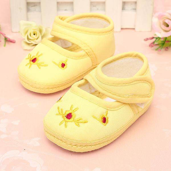 Lovely Kid Baby Toddler Girl's Infant Soft Sole Floral Canvas Sneaker Crib Shoes yellow