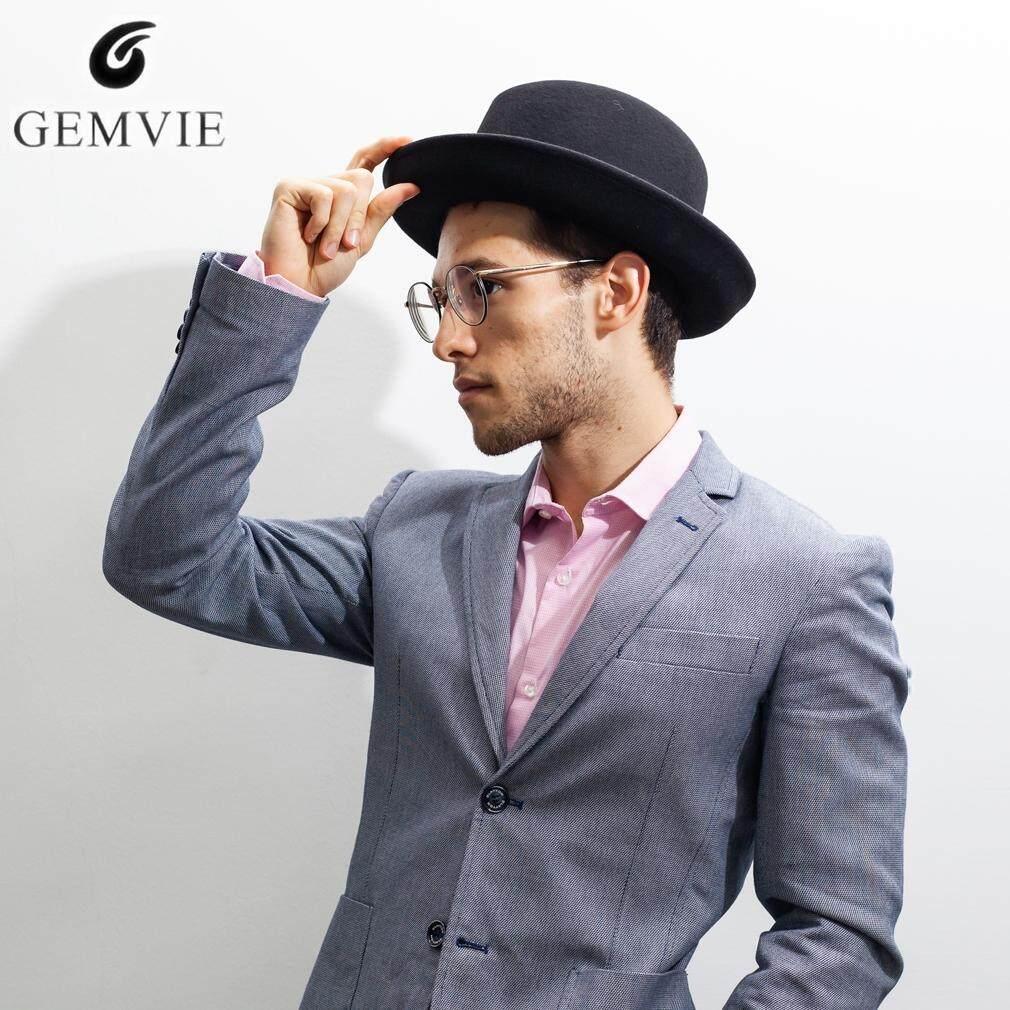 62dfbdc36f GEMVIE High-Grade Fedoras for Men Retro Europe Style Fedora Hat 100% Wool  Felt Hat Gentleman Curved Brim Top Hats Classical Jazz Cap
