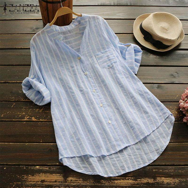 ZANZEA Women Asymmetrical Long Shirt Tops Casual Irregular Hem Stripe Blouse Plus Size