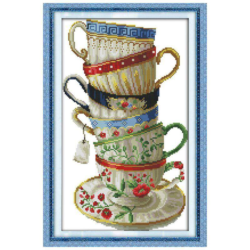 Flower Coffee Cup Needlework Counted 14CT Printed Cross Stitch Embroidery Kit