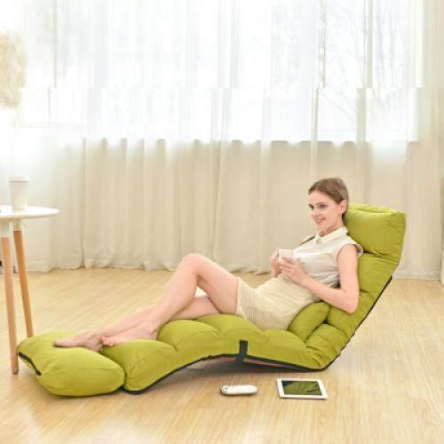 Adjustable Lazy Sofa Folding Floor Chair with Feet Cushion (PISTACHIO GREEN)
