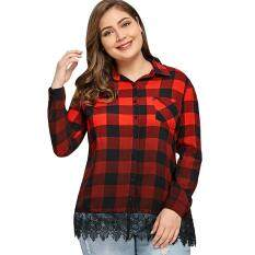 Plus Size Lace Insert Ombre Color Plaid Shirt (CHECKED) – intl