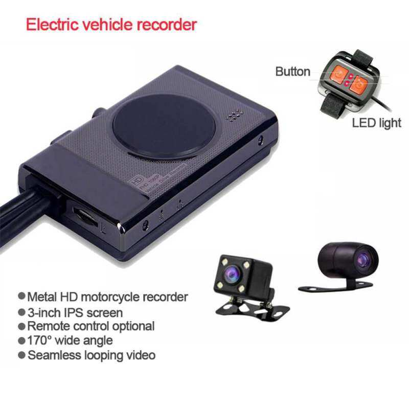 Teekeer Motorcycle Recording Camera System, 1280*720P*P Dual Lens Dash Cam Dvr, Rear View Sports Action Camera, Waterproof Video Driving Recorder with WiFi & GPS, 3.0