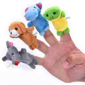 Hình ảnh 10 Pcs/lot Baby Plush Toys Cartoon Happy Family Fun Animal Finger Hand Puppet Kids Learning & Education Toys Gifts Wholesale - intl