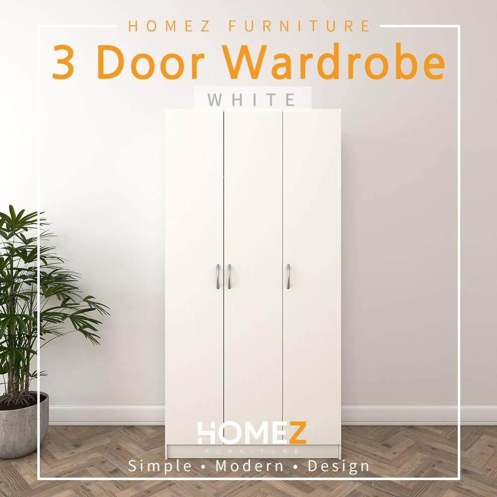 Homez 3 door wardrobe solid board hmz wd dt 6001 with 6 shelves