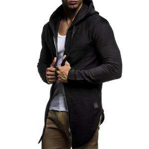 Hình ảnh Men Long Sleeve Hoodie Winter Jacket Zipper Cropped Design Hooded Coat Tops from Gardenia