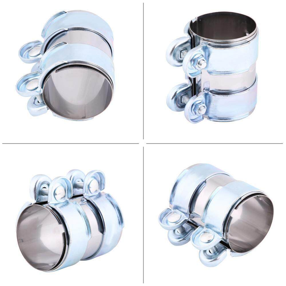 optional 2.5in 2.5in Universal Aluminum Exhaust Band Clamp,Stainless Steel Turbo Exhaust Band Clamp Muffler Catback Pipe Connector W//Bolts 2in