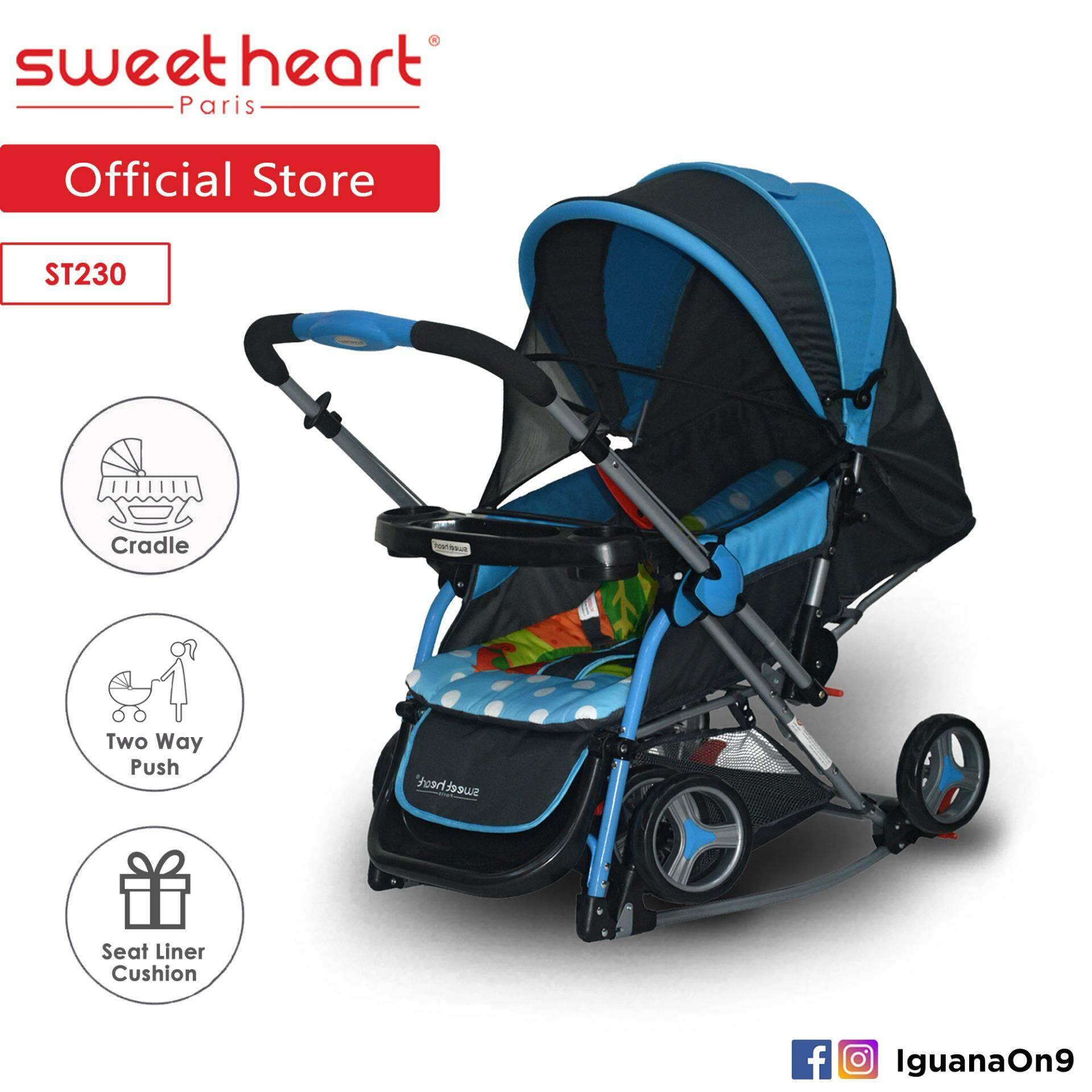 Sweet Heart Paris Aluminium 2IN1 Stroller + Rocker Cradle ST230 (Blue) Bundle with Mosquito Net & Reversible Handlebar