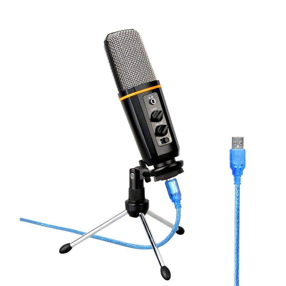 ELEC USB Podcast Microphone With Headphone Monitoring Echo Volume Control Vocal Condenser Mic For Broadcasting Music Recording