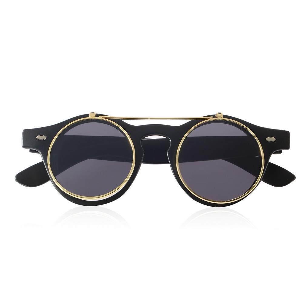 Hot Fashion Goggles Glasses Retro Flip Up Round Sunglasses Vintage Matte (Black)
