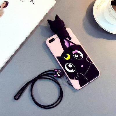 Korea Cute Cartoon Sailor Moon Lovely Luna Cat Silicone Case cover For iPhone 7 Plus 8 Plus Soft Case Head Sound in Pinch