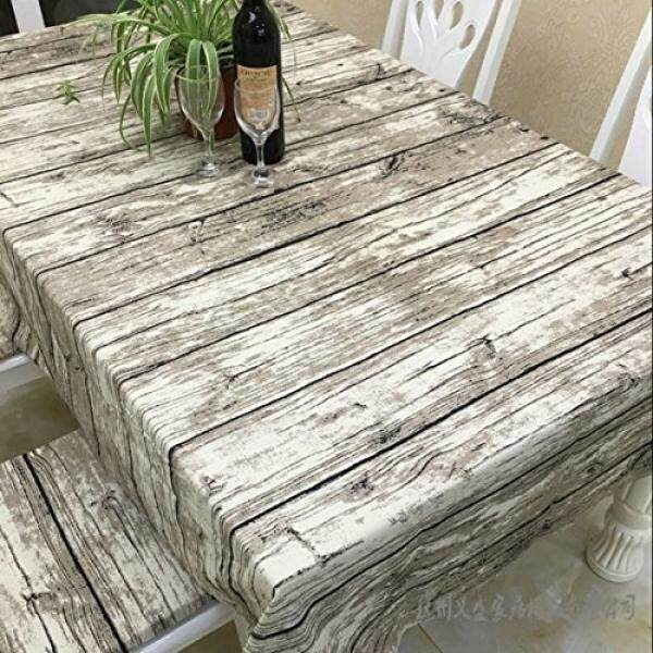 JInsen Vintage Wood Grain Tablecloth Linen Embroidered Rectangle Washable Dinner Picnic Table Cloth Assorted x200 cm